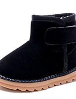 cheap -toddler boys girls winter warm fur slip-on flats snow boots black