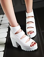 cheap -Women's Sandals Chunky Heel Peep Toe Sexy Sweet Preppy Daily Party & Evening PU Solid Colored White Black