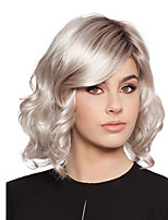 cheap -Synthetic Wig Curly Asymmetrical Wig Short Silver Synthetic Hair Women's Fashionable Design Exquisite Comfy Silver