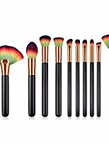 cheap -makeup brushes,  premium professional makeup brush set,10pcs synthetic makeup brushes for foundation blending blush powder blush concealers eye shadows brushes (black colorful)