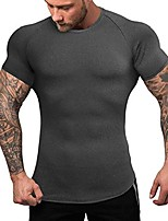 cheap -men's quick dry workout t-shirts compression athletic baselayer tee gym training tops pure black m