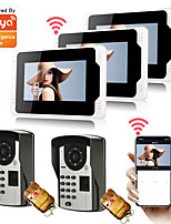 cheap -WIFI / Wired Recording 7 inch Hands-free Two to Three video doorphone 7 WiFi Tuya Monitor Video Door Phone System 1080P Camera with Multi-languages Fingerprint Password Motion Recording