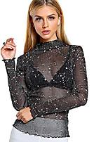 cheap -women's star mesh see through mock neck long sleeve tops tee t-shirt a black s