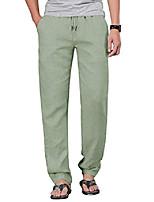 cheap -mens linen pants drawstring loose fit casual pants for men elastic waist green l