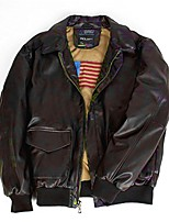 cheap -a2 motorcycle pu bomber leather jacket warm winter for men (l, brown)