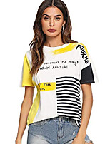 cheap -women's graphic cute short sleeve crewneck t-shirt casual letter print top large yellow