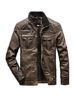 cheap -men's faux leather jacket retro biker jacket distressed motorcycle pu leather outwear coat brown xl