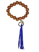cheap -wooden bangle key ring large wood beads keychain bracelets with suede tassel for women men (golden-blue)