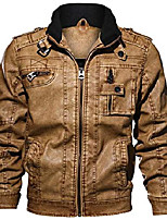 cheap -men's casual long sleeve zip-up distressed faux leather moto jacket (small, brown)