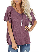 cheap -women's short sleeve t shirts round neck tee cutout back twist loose top wine red