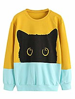 cheap -clearance women casual color block sweatshirt women leisure cat print long sleeve pullover tops(s, yellow)