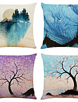 cheap -Set of 4 Color Block Floral Print Linen Square Decorative Throw Pillow Cases Sofa Cushion Covers 18x18