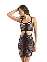 cheap -Women's Sheath Dress Short Mini Dress - Sleeveless Solid Color Backless Tassel Fringe Patchwork Summer Sexy 2020 Black Khaki S M L XL