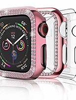 cheap -case compatible with apple watch 44mm women men, 3-pack bling soft pc case full cover bumper frame & clear tpu screen protector cover for iwatch series 6 5 4(44mm, pink+clear)