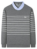 cheap -Men's Golf Polo Shirts Long Sleeve Autumn / Fall Spring Winter UV Sun Protection Breathable Quick Dry Cotton Stripes Black Dark Navy Gray / Stretchy