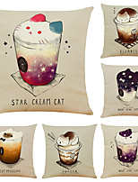 cheap -Set of 6 Creative Cute Cat Linen Square Decorative Throw Pillow Cases Sofa Cushion Covers 18x18