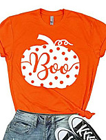 cheap -pumpkin halloween tee t shirt women's funny cute letter printed graphic fall shirt top