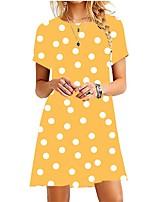 cheap -Women's A-Line Dress Short Mini Dress - Short Sleeve Polka Dot Summer Casual 2020 Blue Purple Red Yellow Blushing Pink Wine Army Green Fuchsia Orange Green S M L XL XXL 3XL