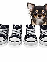 cheap -pet dog puppy canvas sport shoes sneaker boots, outdoor nonslip causal shoes, rubber sole+soft cotton inner fabric (leopard)