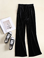 cheap -Women's Basic Breathable Velvet Slim Daily Wide Leg Pants Solid Colored Full Length High Waist Black Gray