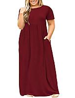 cheap -Women's Swing Dress Maxi long Dress - Short Sleeve Solid Color Ruched Pocket Patchwork Summer Plus Size Casual Chiffon Slim 2020 Purple Wine Navy Blue L XL XXL 3XL 4XL 5XL