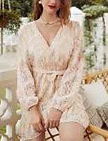 cheap -women's a-line dress short mini dress - long sleeve solid color lace patchwork fall v neck casual boho going out slim 2020 beige s m l