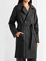 cheap -Women's Fall & Winter Coat Long Solid Colored Daily Basic Black S M L XL