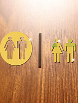 cheap -3D Toilet Sign Hotel Toilet Characters Wall Stickers Mirror Wall Stickers Decorative Wall Stickers Acrylic Home Decoration Wall Decal Wall Decoration 1pc