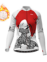 cheap -21Grams Women's Long Sleeve Cycling Jersey Winter Fleece Polyester White Black Tiger Bike Jersey Top Mountain Bike MTB Road Bike Cycling Fleece Lining Breathable Warm Sports Clothing Apparel