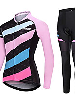 cheap -21Grams Women's Long Sleeve Cycling Jersey with Tights Winter Fleece Pink Bike Fleece Lining Warm Sports Mountain Bike MTB Road Bike Cycling Clothing Apparel / Stretchy / Athletic