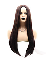 cheap -Synthetic Wig Natural Straight Layered Haircut Wig Medium Length Dark Brown Synthetic Hair Women's Party New Arrival Dark Brown