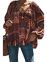 cheap -womens blouses v neck tops long sleeve printed casual loose fitting shirts floral red xxl