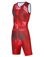 cheap -WECYCLE Men's Women's Sleeveless Cycling Jersey with Shorts Triathlon Tri Suit Summer Red Bike Breathable Quick Dry Sports Geometic Mountain Bike MTB Road Bike Cycling Clothing Apparel / Stretchy