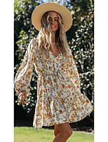 cheap -women's sheath dress short mini dress - long sleeve floral print fall v neck casual loose 2020 beige s m l xl