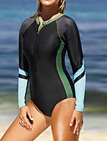 cheap -Women's One Piece Swimsuit Nylon Elastane Swimwear Breathable Quick Dry High Elasticity Long Sleeve Swimming Surfing Beach Patchwork Autumn / Fall Spring Summer / Stretchy