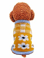 cheap -puppy dog sweater plaid knitted sweater costume puppy soft warm knitwear clothes for small dogs apparel yellow