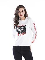 cheap -Women's Blouse Shirt Letter Long Sleeve Print Round Neck Tops Loose Basic Basic Top White Black