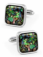 cheap -fancy nebula mother of pearl square cufflinks for men deep space cuff links set (nebula champaign gold)