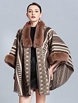 cheap -Women's Fall & Winter Shawl Lapel Cloak / Capes Long Color Block Daily Faux Fur Black Khaki Navy Blue Beige One-Size