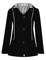 cheap -pervobs women rain jacket outdoor solid zipper up pocket plus waterproof hooded raincoat windproof outwear(us:6, black)