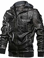 cheap -men's vintage biker faux leather jacket retro zip-up stand collar motorcycle jackets with removable hood (black-1 xl)