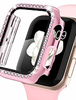 cheap -apple watch case with screen protector for apple watch 40mm series 6/5/4/se, bling crystal diamond rhinestone ultra-thin bumper full cover protective case for women girls iwatch rosepink