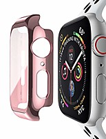 cheap -compatible with apple watch 44mm case with built-in tempered glass screen protector, full coverage hard iwatch case for series 6/5/4/se (rose pink, 44mm series 6/5/4/se)