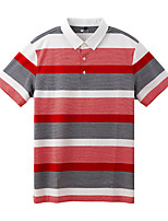 cheap -Men's Golf Polo Shirts Short Sleeve UV Sun Protection Breathable Quick Dry Sports Outdoor Autumn / Fall Spring Summer Cotton Stripes Red / Stretchy