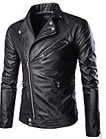 cheap -men moto jacket faux leather motorcycle biker jacket coat zip classic collar keep warm autumn winter black size us xxs (asian m)