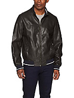 cheap -men's lamb touch faux leather bomber jacket with contrast rib knit, dark brown, large