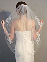 cheap -One-tier Flower Style / Basic Wedding Veil Fingertip Veils with Sparkling Glitter / Appliques / Crystals / Rhinestones 35.43 in (90cm) Tulle