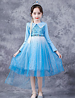 cheap -Princess Cosplay Costume Masquerade Girls' Movie Cosplay A-Line Slip Halloween Blue Dress Halloween Children's Day Masquerade Polyester Organza