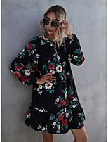 cheap -Women's A-Line Dress Short Mini Dress - Long Sleeve Print Print Fall Casual Puff Sleeve 2020 Black S M L XL