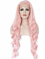 cheap -natural long wave pink synthetic front lace wig for white women 18 inch